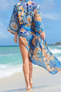Blue Multi Pattern Beach Kimono (One Size)