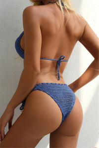 Crochet String-Tied Halter Bikini-Sold in multiple colors