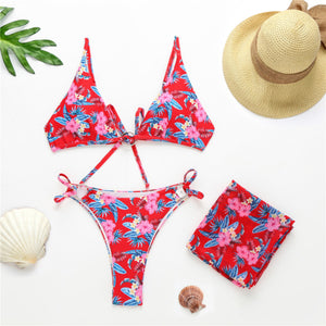 3-Piece Floral Thong Bikini With Matching Cover-up