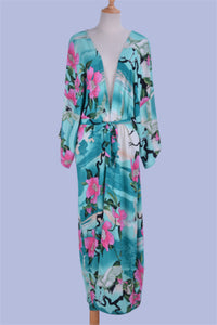 Green Floral Beach Kimono With Tie Belt (One size)