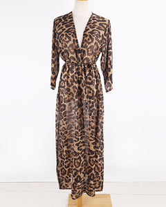 Leopard Print Chiffon See Through Beach Kimono (One Size)