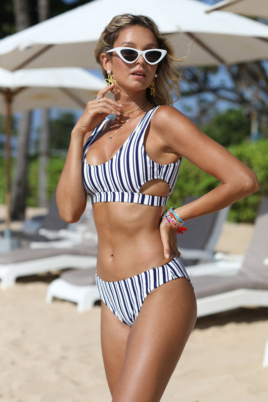 Striped Cut-Out Bikini