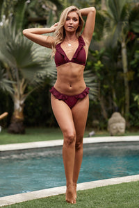 Flirty Red Wine Ruffle Bikini