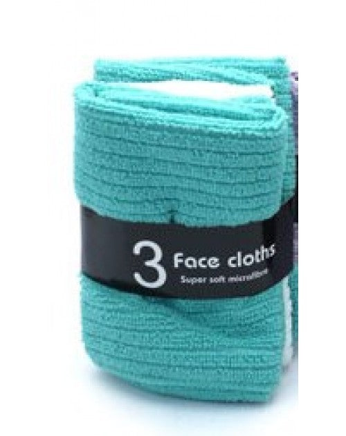 Face Cloths Micro 3Pk Asst