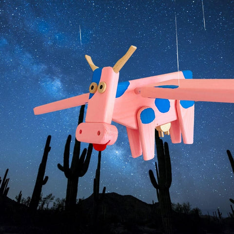 Pink Flying Cow Wooden Nursery Mobile