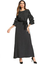 Load image into Gallery viewer, Ruffle Sleeve Tie Waist Polka Dot Print Long Maxi Dress