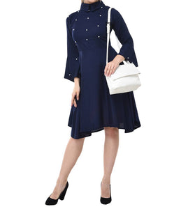 Navy Blue Cotton Solid Fit & Flare Dress