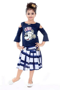 Girls Festive & Party Top and Skirt Set  (Multicolor Pack of 1)
