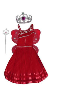 Pari Frock for Girls with crown red