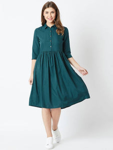 Green Solid Fit and Flare Dress
