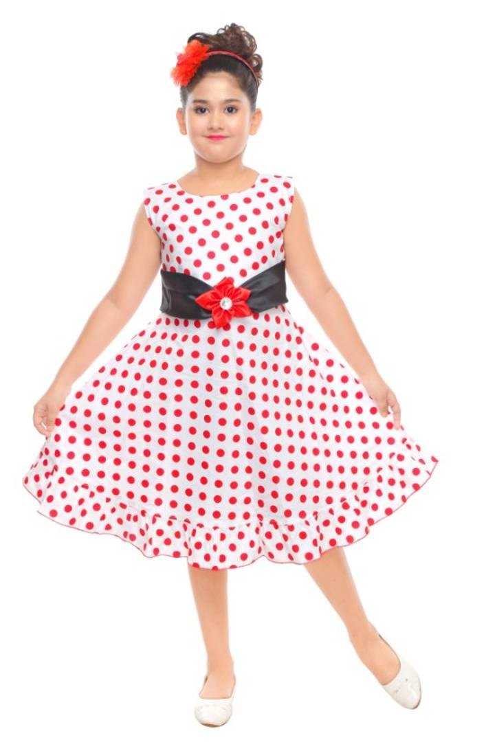 Cutie Pie Kids Girls Festive/Party Wear Bobby Printed Cotton Frock