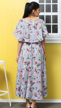 Load image into Gallery viewer, Women's Blue Printed Maxi Length Dress