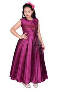 Girls Solid Purple Silk Blend Frocks