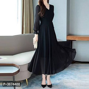 Women Black V-Neck Long Sleeve Georgette Maxi Dress