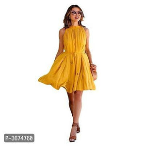 Women's Solid Yellow Crepe Fit And Flare Dress