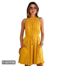 Load image into Gallery viewer, Women's Solid Yellow Crepe Fit And Flare Dress