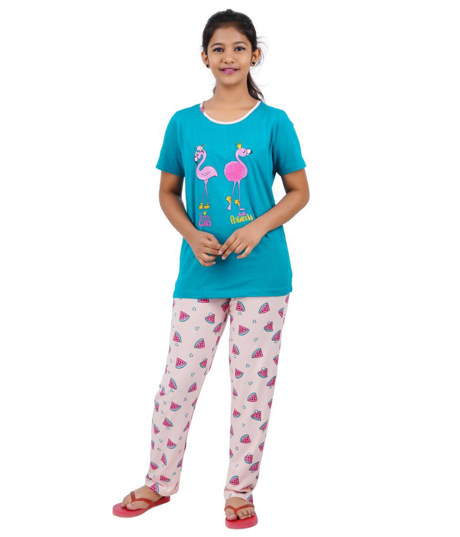 Girls Printed Blue Top With Bottom - Pack of 1