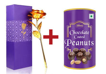 Load image into Gallery viewer, Effete Festival Gift Combo - Chocolicious Peanut 96gm with Golden Rose 10 INCHES with Carry Bag Valentine Special
