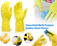 Load image into Gallery viewer, 662 - Flock line Reusable Rubber Hand Gloves (Yellow 2 tone) - 1pc