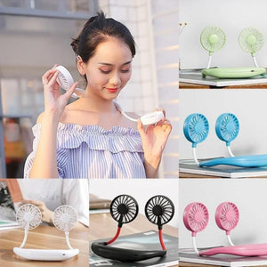 875 Portable USB Battery Rechargeable Mini Fan - Headphone Design Wearable Neckband Fan