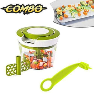 RajviMart.com Kitchen combo - Manual 2 in 1 Handy smart chopper for Vegetable Fruits with spiral cutter
