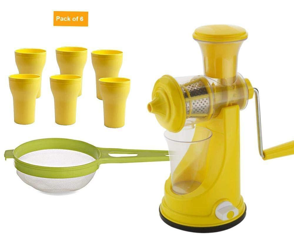 RajviMart.com Kitchen combo -Manual Fruit Juicer with Plastic Big Tea Strainer Sieve &  6pcs Plastic Juice Drinking Glasses