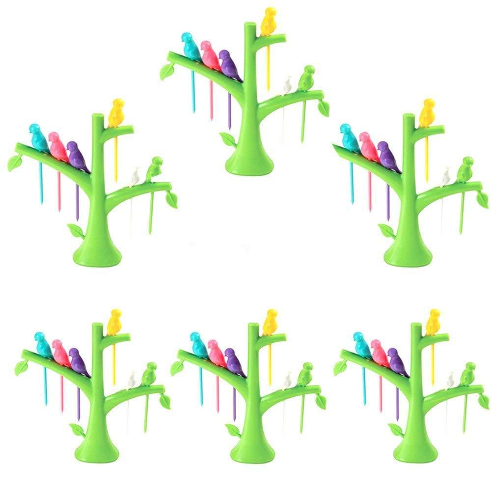 RajviMart.com Fancy Bird Table Fork with Stand for Eating Fruits - Pack of 6