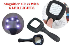 Load image into Gallery viewer, 557 Hand Held Optical Grade Magnifying Glass with 6 LED Lights