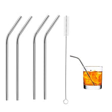 Load image into Gallery viewer, RajviMart.com Food Grade Silicone Straws(4pc), Stainless Steel Straws(4pc) & Straw Cleaning Brush(2pc)
