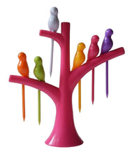 Load image into Gallery viewer, RajviMart.com Fancy Bird Table Fork with Stand for Eating Fruits - Pack of 6