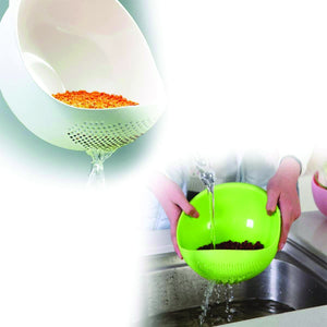 108 Kitchen Plastic big Rice Bowl Strainer Perfect Size for Storing and Straining