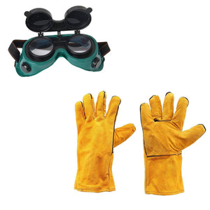 RajviMart.com Dark Poly-carbonated Lens Welding Goggles and Heat Resistant Welding Work Gloves