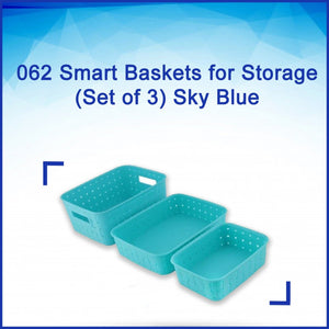 062 Smart Baskets for Storage(Set of 3) Sky Blue