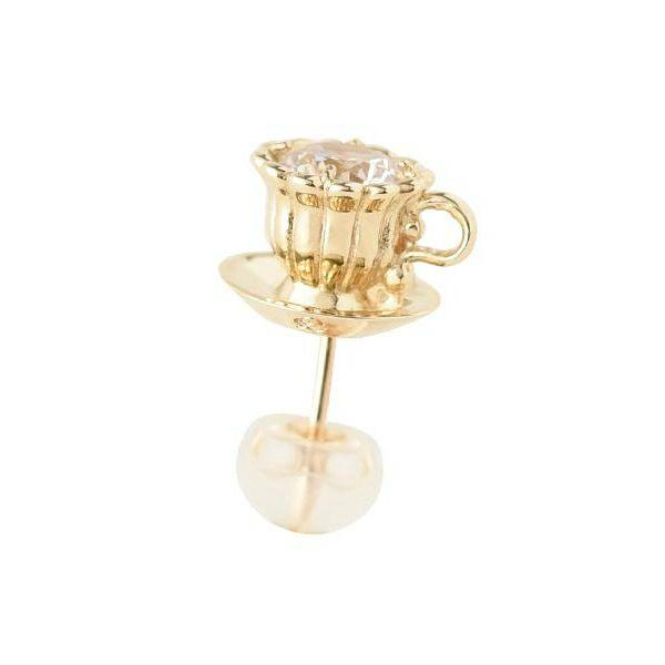 【10K-Yellow Gold】Tea Cup Pierced Earring (1 Piece)