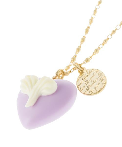 Heart On Heart Necklace (Purple)