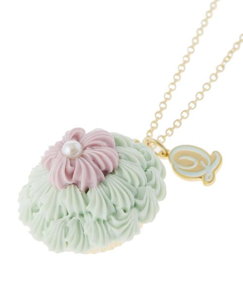 FLORAL Cupcake Pansy Necklace (Mint Green)