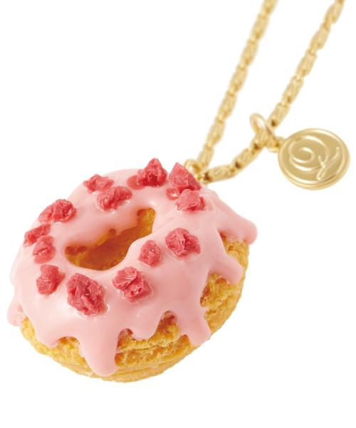 Melty Strawberry Doughnut Necklace