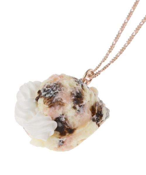 【Online Limited】Strawberry Chocolate Ice Cream with Whipped Cream Necklace