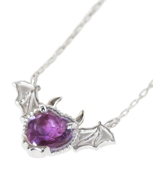 【10K-White Gold】Melty Devil Heart Necklace [Purple]