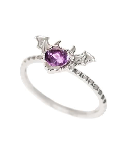 【10K-White Gold】Melty Devil Heart  Ring [Purple]