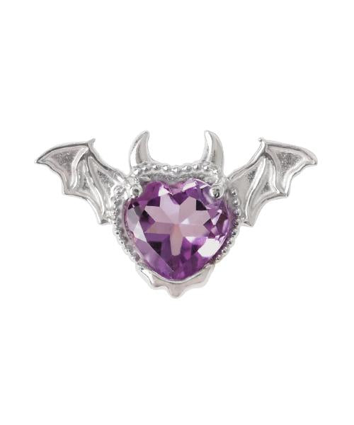【10K-White Gold】Melty Devil Heart Pierced Earring [Purple] (1 piece)