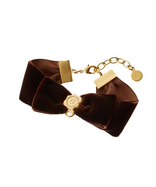 Selectable Happiness Velvet Ribbon Bracelet (Brown)