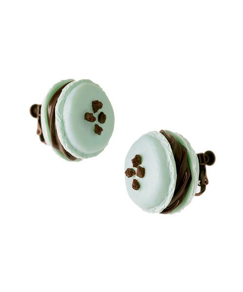 Mint Chocolate Petit Macaron Earring (Pair Item)