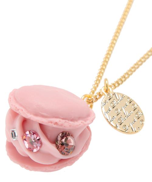 Creamy Strawberry Macaron Necklace