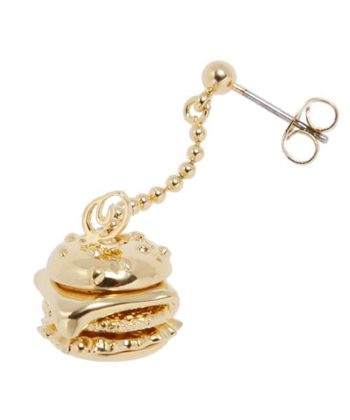 Mini Burger Pierced Earring [Gold] (1 Piece)