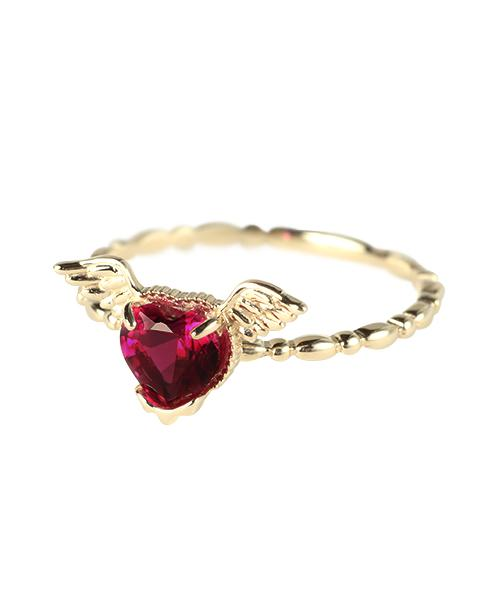 【10K-Yellow Gold】Melty Angel Heart Ring