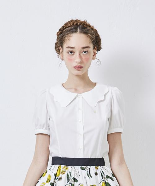 Melty Collar Short Puff Sleeve Blouse