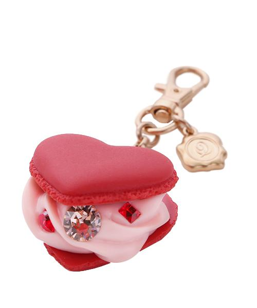 Love Heart Macaron Bag Charm (Red)