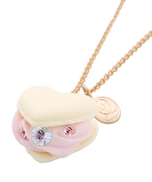 Love Heart Vanilla Milk Heart-shaped Macaron Necklace (White)