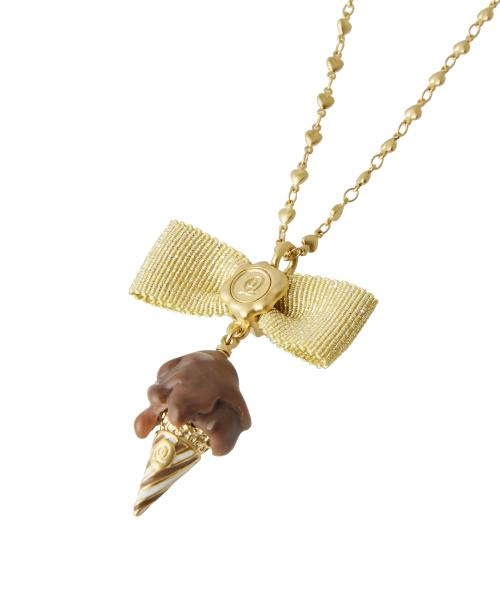 Melty Chocolate Gelato Ribbon Necklace (Brown)